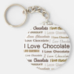 I Love Chocolate Basic Round Button Key Ring