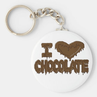 I love chocolate basic round button key ring