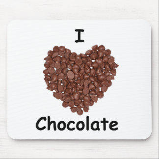 I Love chocolate, chocolate chip heart shape Mouse Mat
