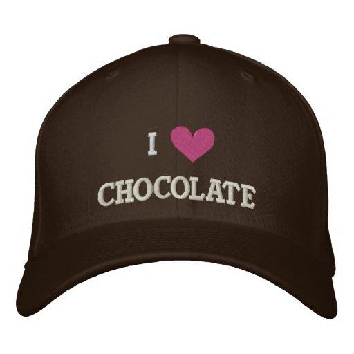 I LOVE CHOCOLATE EMBROIDERED BASEBALL CAP