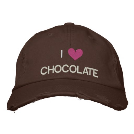 I LOVE CHOCOLATE EMBROIDERED BASEBALL CAPS