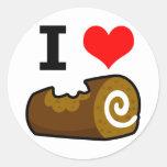 I Love Chocolate Log Round Stickers