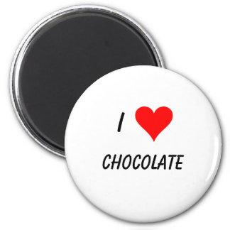 i love chocolate 6 cm round magnet