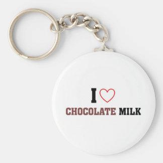 I love Chocolate Milk Basic Round Button Key Ring