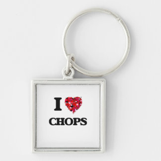 I love Chops Silver-Colored Square Key Ring