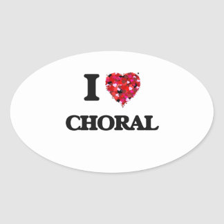 I love Choral Oval Sticker