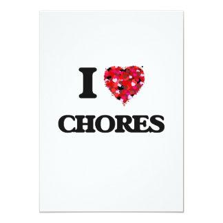 I love Chores 13 Cm X 18 Cm Invitation Card