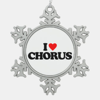 I LOVE CHORUS PEWTER SNOWFLAKE DECORATION