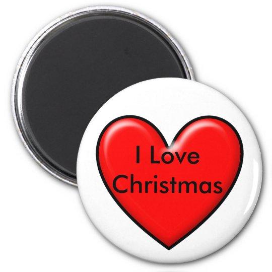 I love Christmas 6 Cm Round Magnet
