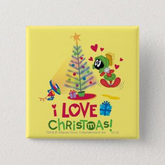 I Love Christmas - MARVIN THE MARTIAN™ 15 Cm Square Badge