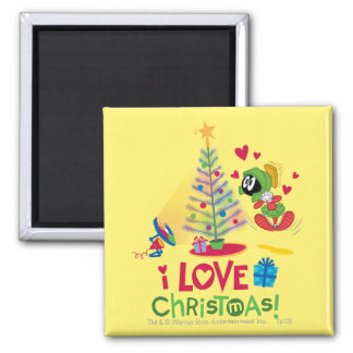 I Love Christmas - MARVIN THE MARTIAN™ Square Magnet