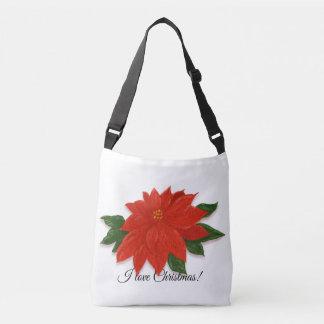 """I love Christmas"" Red Poinsettia Crossbody Bag"