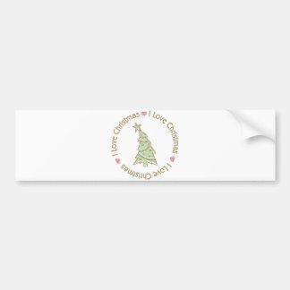 I Love Christmas Sweet Pastel Christmas Tree Bumper Sticker