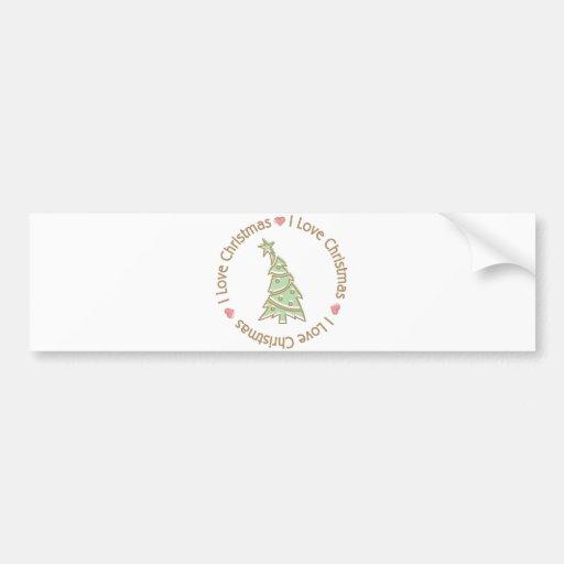 I Love Christmas Sweet Pastel Christmas Tree Bumper Stickers
