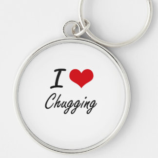 I love Chugging Artistic Design Silver-Colored Round Key Ring