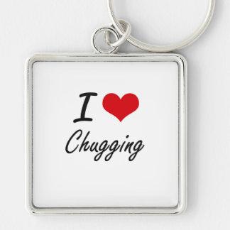 I love Chugging Artistic Design Silver-Colored Square Key Ring