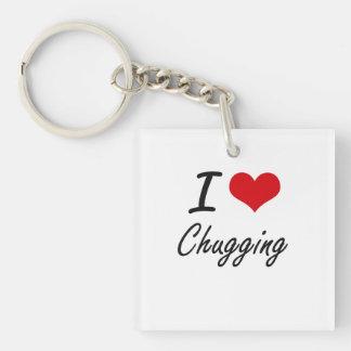 I love Chugging Artistic Design Single-Sided Square Acrylic Key Ring