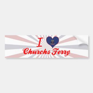 I Love Churchs Ferry, North Dakota Bumper Sticker