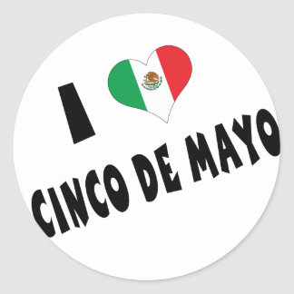 I Love Cinco de Mayo Classic Round Sticker