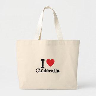 I love Cinderella heart T-Shirt Large Tote Bag