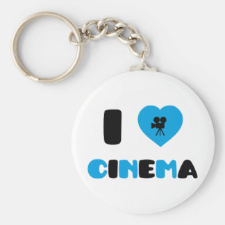 I Love Cinema Basic Round Button Key Ring
