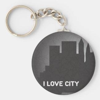 I Love City Basic Round Button Key Ring