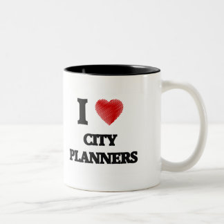 I love City Planners (Heart made from words) Two-Tone Mug