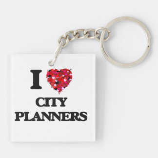 I love City Planners Double-Sided Square Acrylic Key Ring
