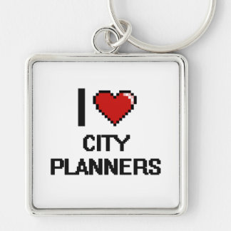 I love City Planners Silver-Colored Square Key Ring