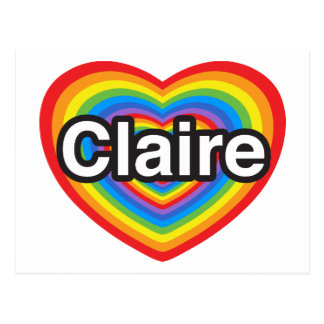 I love Claire I love you Claire Heart Post Cards