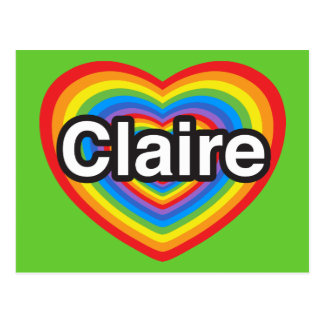 I love Claire. I love you Claire. Heart Postcard