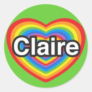 I love Claire. I love you Claire. Heart Classic Round Sticker
