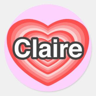 I love Claire. I love you Claire. Heart Round Sticker