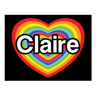 I love Claire: rainbow heart Postcard