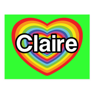 I love Claire: rainbow heart Postcard