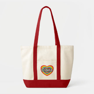 I love Claire: rainbow heart Tote Bags