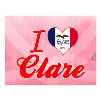I Love Clare, Iowa Postcard