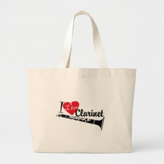 I Love Clarinet Large Tote Bag