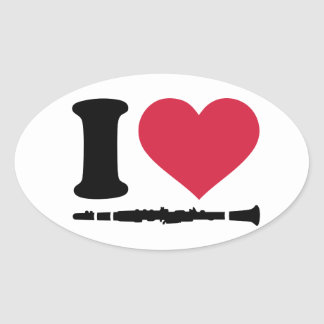 I love clarinet oval sticker
