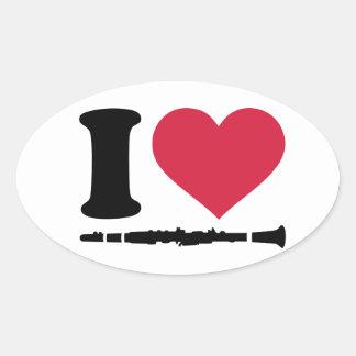 I love clarinet oval sticker