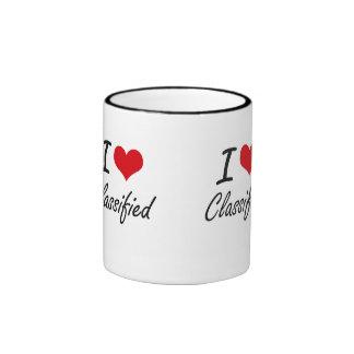 I love Classified Artistic Design Ringer Mug