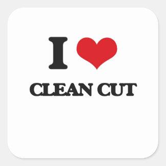 I love Clean-Cut Square Sticker