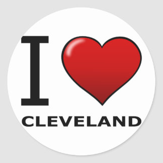 I LOVE CLEVELAND, OH - OHIO CLASSIC ROUND STICKER