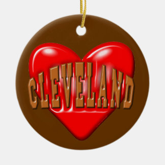 I Love Cleveland Round Ceramic Decoration