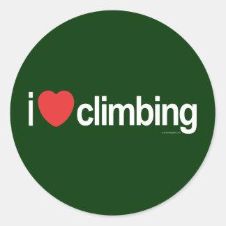 I Love Climbing Round Sticker