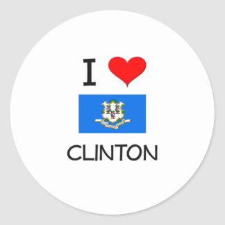 I Love Clinton Connecticut Round Sticker