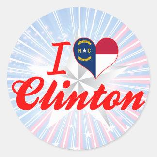 I Love Clinton, North Carolina Round Sticker