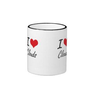 I love Clouds Artistic Design Ringer Mug