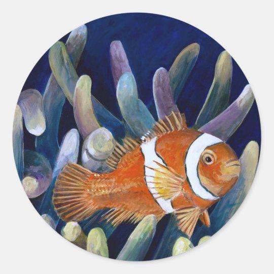 I love clownfish classic round sticker