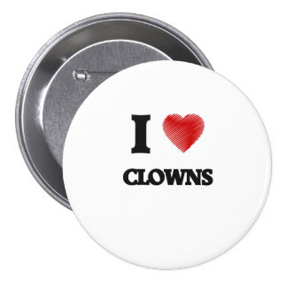 I love Clowns (Heart made from words) 7.5 Cm Round Badge